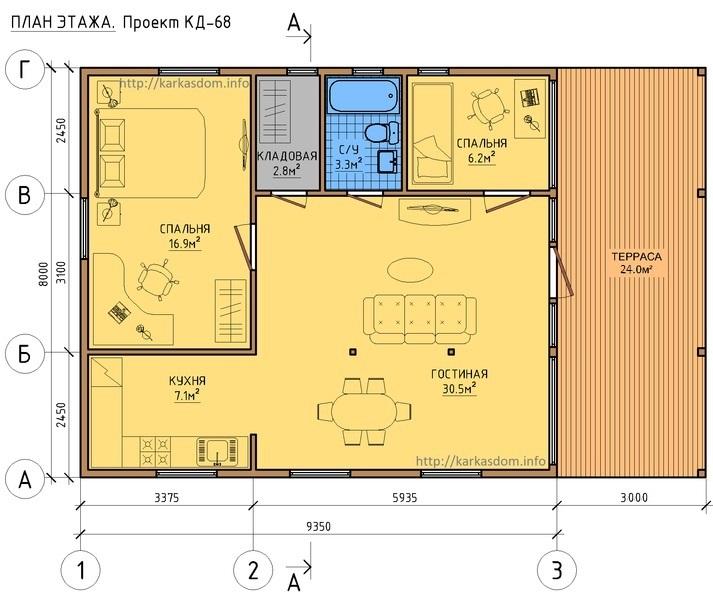 План каркасного дома 8х9м 74м/кв в один этаж с террасой.