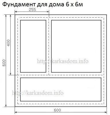 Фундамент для каркасного дома 6х6м 72м/кв