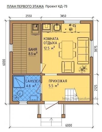 План каркасного дома 6х6м 72м/кв, Первый этаж.