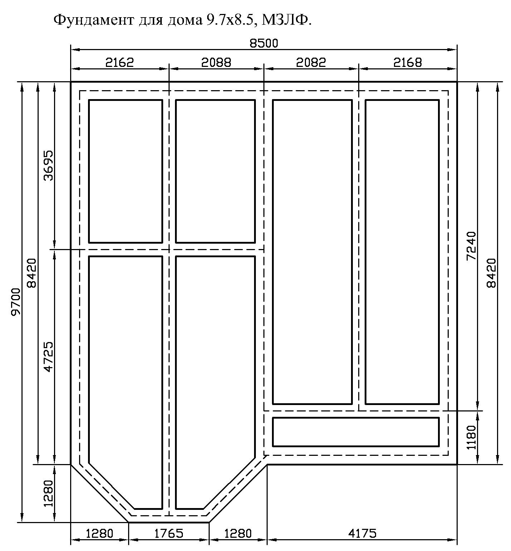 Фундамент для каркасного дома 8,5х9,7 148м/кв
