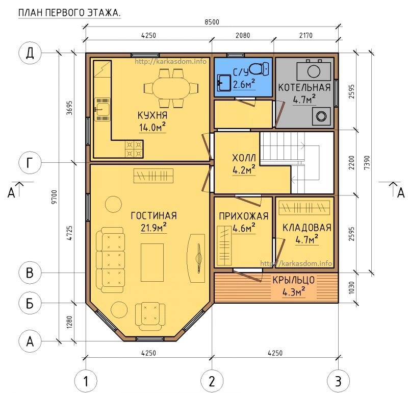 Первый этаж каркасного дома 8,5х9,7 148м/кв