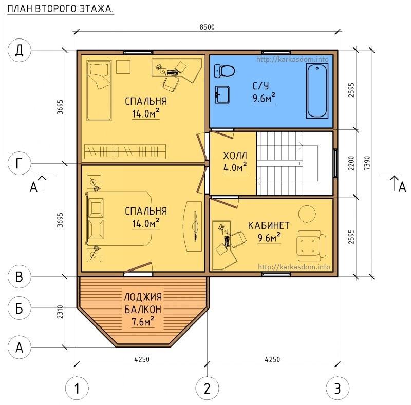 Второй этаж каркасного дома 8,5х9,7 148м/кв