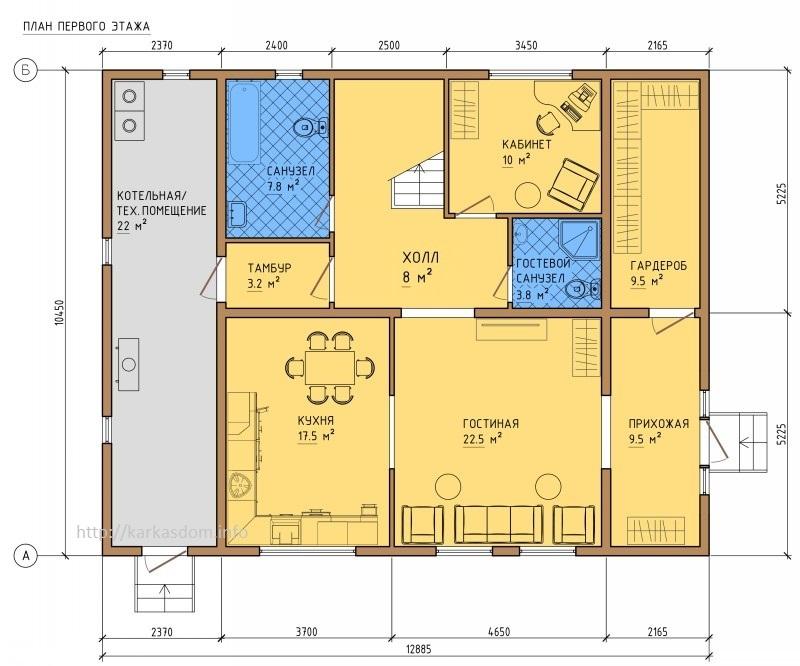 План первого этажа каркасного дома 10,5х13м 242м/кв