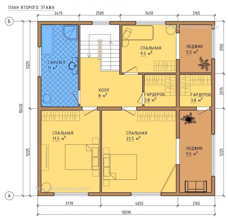План второго этажа каркасного дома 10,5х13м 242м/кв
